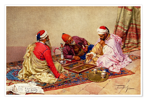 Premium poster The backgammon players