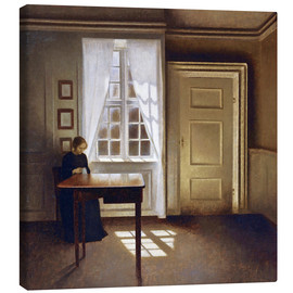 Canvas  Interior with a lady - Vilhelm Hammershoi