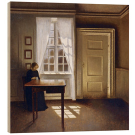 Wood  Interior with a lady - Vilhelm Hammershøi