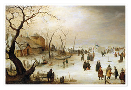 Premium poster A winter landscape with figures on the ice