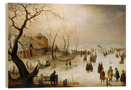 Wood  A winter landscape with figures on the ice - Hendrick Avercamp