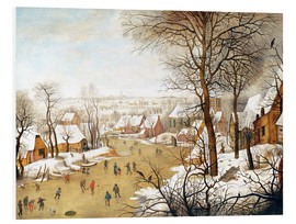 Foam board print  A Winter Landscape with Skaters and a Bird Trap - Pieter Brueghel d.J.