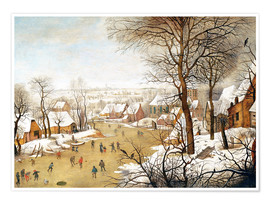 Premium poster  A Winter Landscape with Skaters and a Bird Trap - Pieter Brueghel d.J.