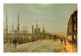 Premium poster  Hull Docks by Night - John Atkinson Grimshaw
