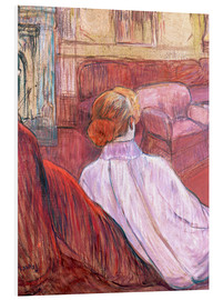 Foam board print  Woman Seated on a Red Settee - Henri de Toulouse-Lautrec