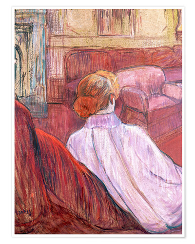 Premium poster Woman Seated on a Red Settee