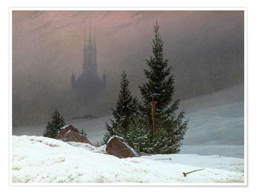 Premium poster Winter Landscape with a Church