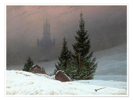 Poster Winter Landscape with a Church