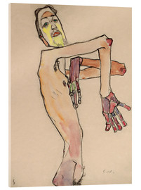 Acrylic print  Nude with crossed arms - Egon Schiele