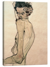 Canvas print  Egon Schiele with arm above head - Egon Schiele