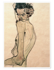 Premium poster  Egon Schiele with arm above head - Egon Schiele
