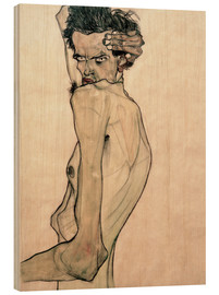 Wood print  Egon Schiele with arm above head - Egon Schiele