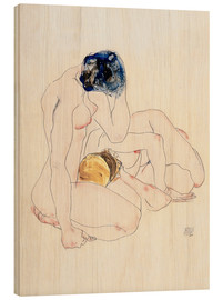 Wood print  Two friends - Egon Schiele