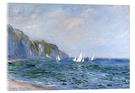 Acrylic print  Rocks and sailing boats in Pourville - Claude Monet