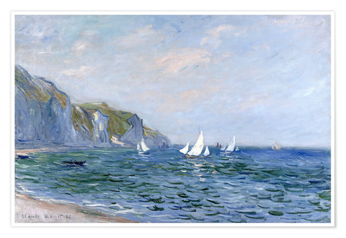 Premium poster Rocks and sailing boats in Pourville