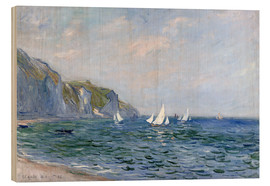 Wood print  Rocks and sailing boats in Pourville - Claude Monet