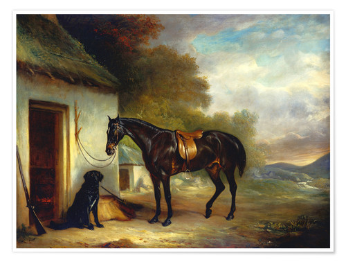 Premium poster Mr. Stuart's favorite horse and his retriever Nell, 1867