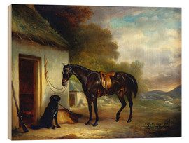 Wood print  Mr. Stuart's favorite horse and his retriever Nell, 1867 - John E. Ferneley