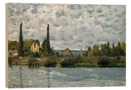 Wood print  The Seine at Bougival - Alfred Sisley