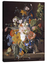 Canvas print  Poppies, daisies, violets, marigolds and others in a vase - Jan van Huysum