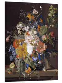 Foam board print  Poppies, daisies, violets, marigolds and others in a vase - Jan van Huysum
