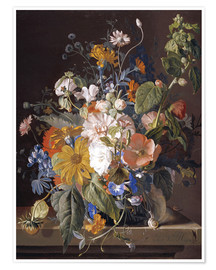 Premium poster Poppies, daisies, violets, marigolds and others in a vase