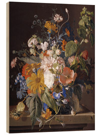 Wood  Poppies, daisies, violets, marigolds and others in a vase - Jan van Huysum