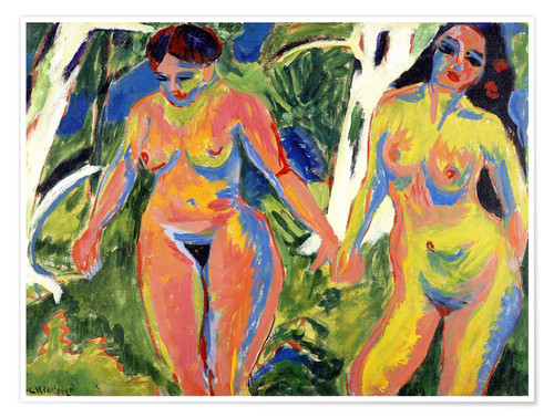 Premium poster Two Nude Women in a Wood
