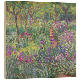 Wood print  The Iris Garden At Giverny - Claude Monet