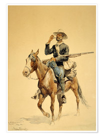 Premium poster  An infantryman on horseback, 1890 - Frederic Remington