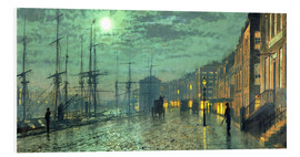 Foam board print  City Docks by Moonlight - John Atkinson Grimshaw