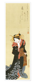 Premium poster A standing courtesan in black kimono with a bundle of paper