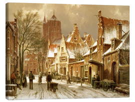 Canvas print  A Winter Street Scene - Hermanus Willem Koekkoek