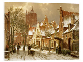 Foam board print  A Winter Street Scene - Hermanus Willem Koekkoek
