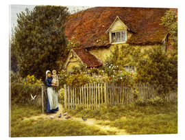 Acrylic print  Mother and child on lodge - Helen Allingham