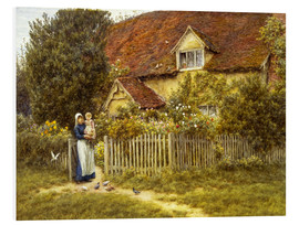 Foam board print  Mother and child on lodge - Helen Allingham