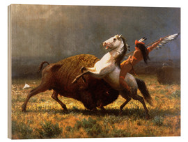 Wood print  The Last of the Buffalos - Albert Bierstadt