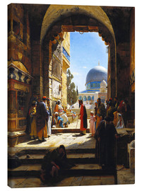 Canvas  At the Entrance to the Temple Mount, Jerusalem - Gustave Bauernfeind