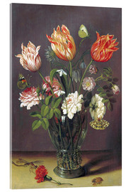 Acrylic print  Tulips with other Flowers in a Glass on a Table - Jan Brueghel d.Ä.