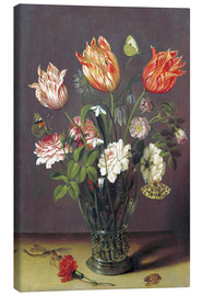 Canvas print  Tulips with other Flowers in a Glass on a Table - Jan Brueghel d.Ä.