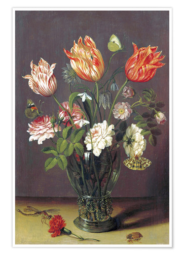 Premium poster Tulips with other Flowers in a Glass on a Table