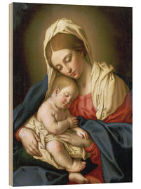 Wood print  The Madonna with child - Il Sassoferrato
