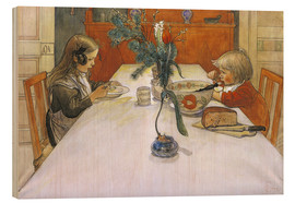 Wood print  The Evening Meal, 1905 - Carl Larsson