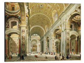 Aluminium print  Interior of St. Peter's Basilica, looking west to the tomb of St. Peter's - Giovanni Paolo Pannini