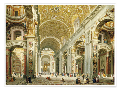 Premium poster Interior of St. Peter's Basilica, looking west to the tomb of St. Peter's