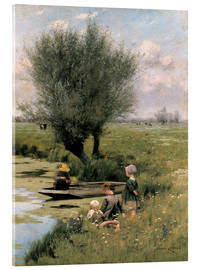 Acrylic print  At the riverbank - Emile Claus