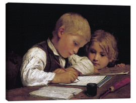 Canvas print  Boy writing with his sister - Albert Anker