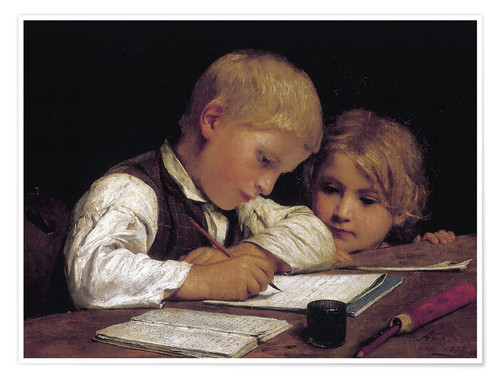 Premium poster Boy writing with his sister