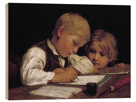 Wood print  Boy writing with his sister - Albert Anker