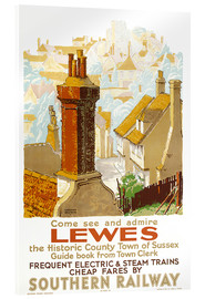 Acrylic glass  Lewes, poster advertising Southern Railway - Gregory Brown